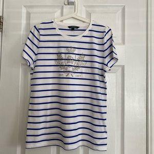 *NWOT* Lauren Ralph Lauren White Striped T-shirt
